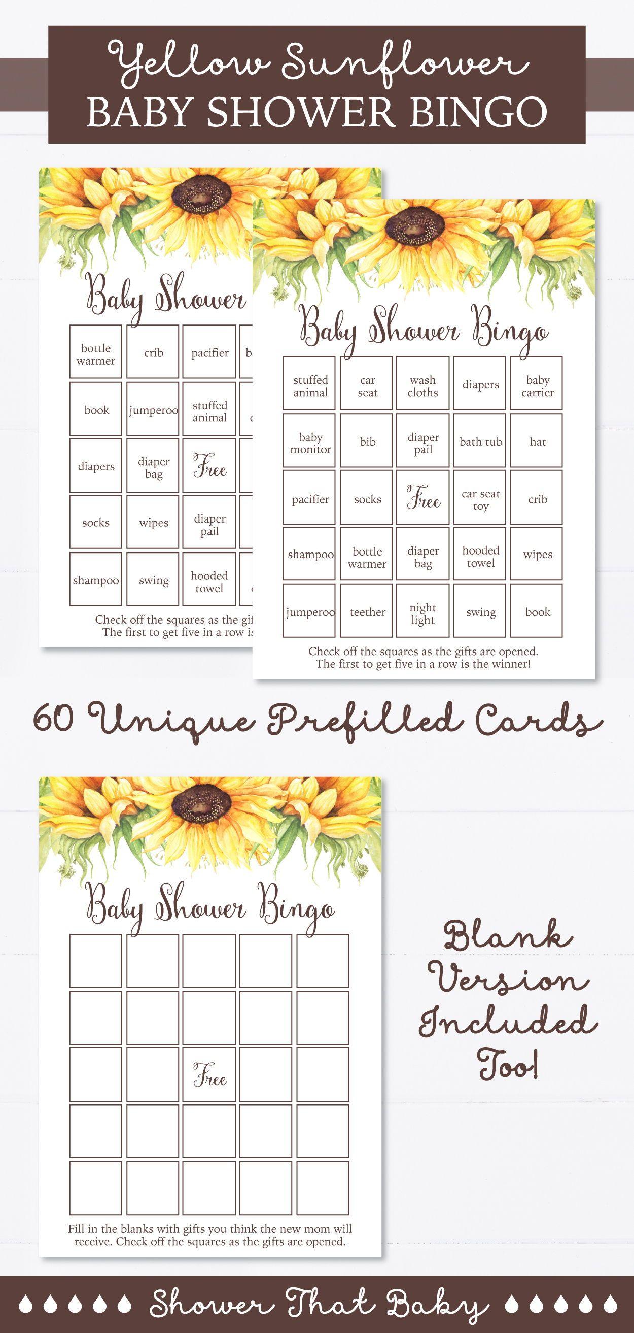 Sunflower Baby Shower Bingo Cards Printable Blank Bingo Etsy In 2020 Sunflower Baby Showers Summer Baby Shower Baby Shower Bingo