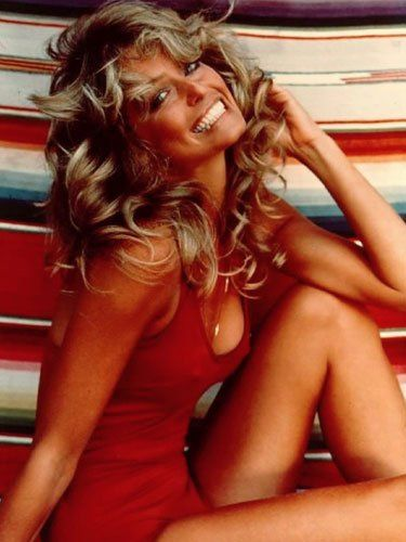 Farrah Fawcett in her iconic red bathing suit, 1976
