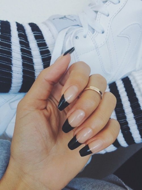 Black Tip Square Acrylic Nails Cute Nails French Tip Nails Coffin Shape Nails