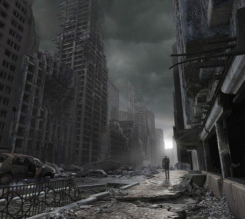 free computer desktop wallpaper:death and ruins, 3d digital art, surreal art, surreal damaged, crumbling, debris, ruins, black and white, b&w, destruction, night outdoors, city, destroyed, neo-surrealism neo surrealist artist outside, urban, visionary mod