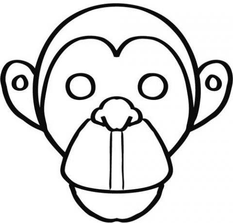 Careta de mono para colorear. Dibujos de Carnaval para niños | María ...
