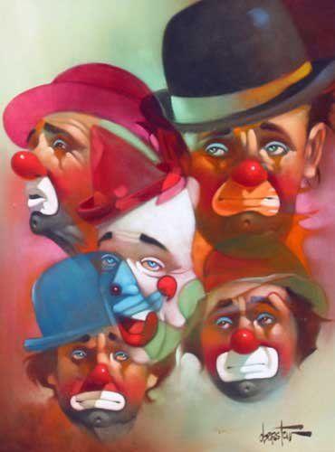 Clowns Paintings Original Canvas | Chuck Oberstein Five Clowns