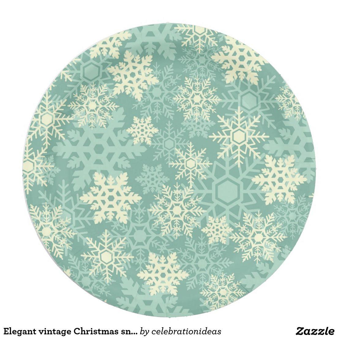 Elegant vintage Christmas snowflakes | Custom CHRISTMAS Paper Plates | Pinterest | Christmas snowflakes Vintage christmas and Christmas paper plates  sc 1 st  Pinterest & Elegant vintage Christmas snowflakes | Custom CHRISTMAS Paper Plates ...