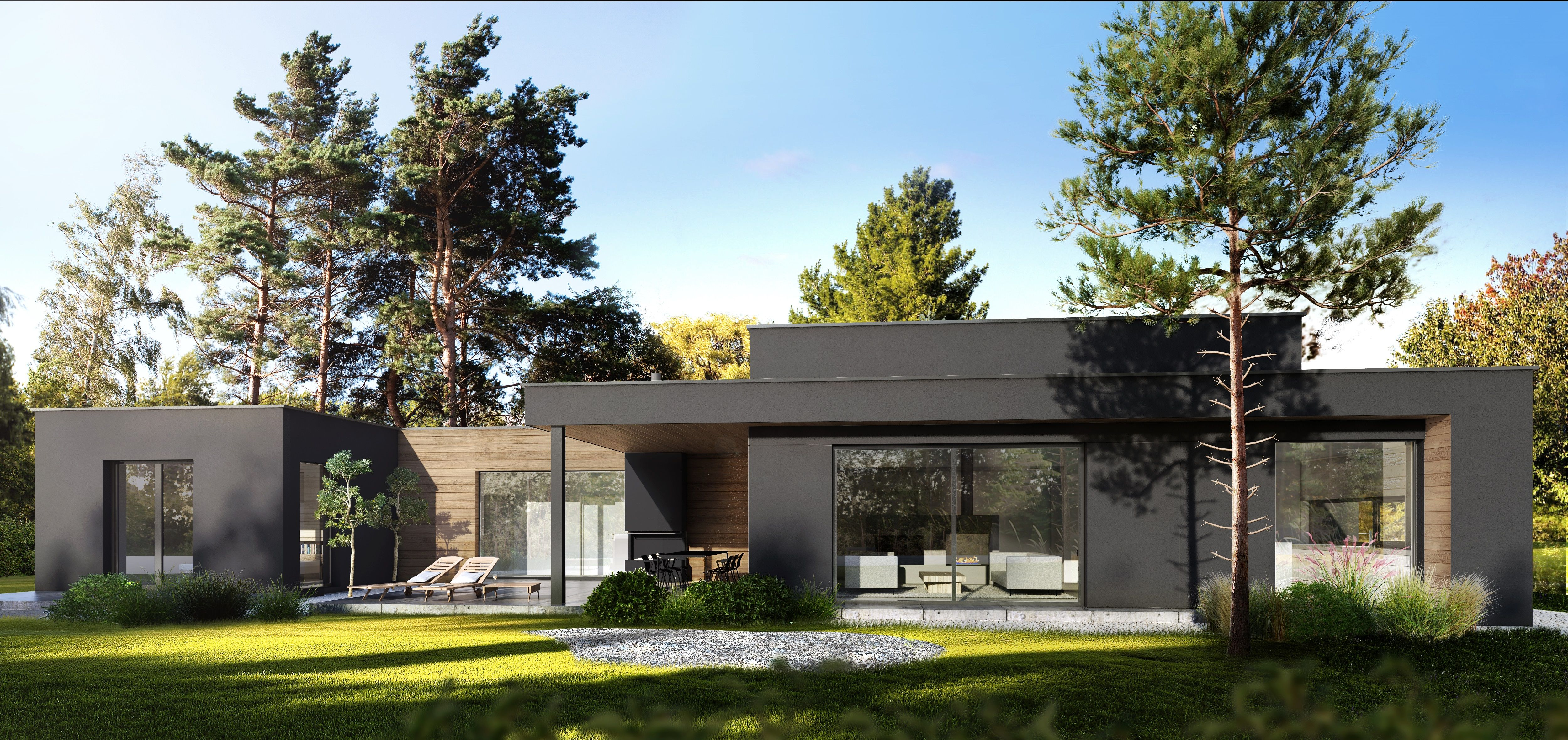 Modern house, flat roof house, contemporary design house ...