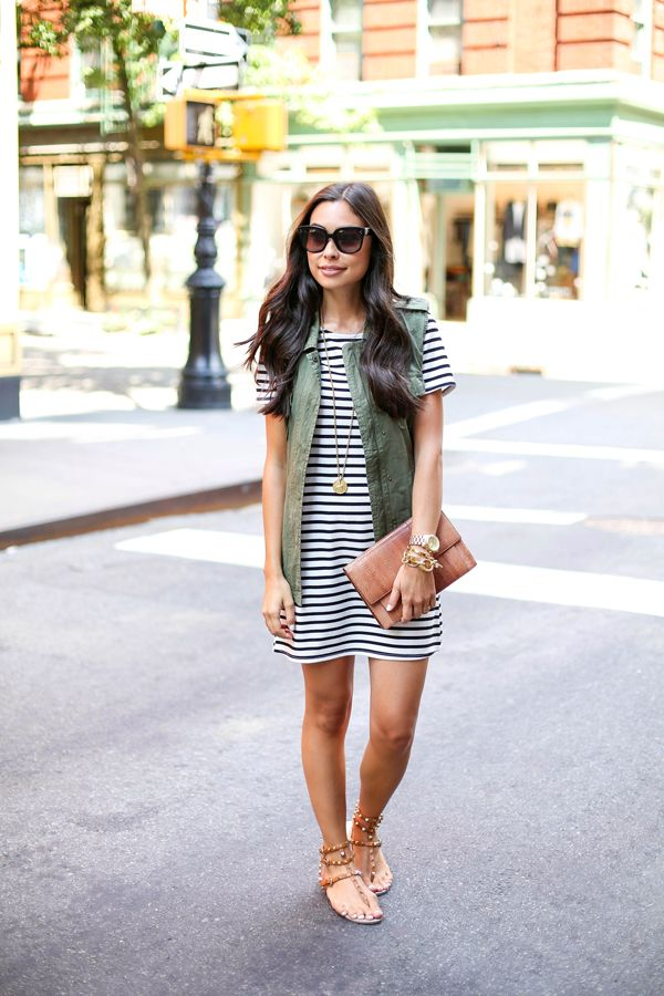 e60b34c901 Stripe dress with green vest and Valentino rockstud sandals.