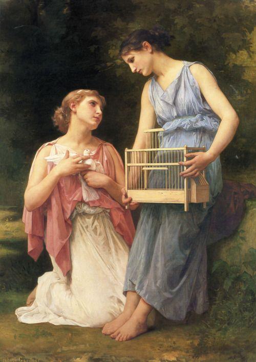 Elizabeth Jane Gardner Bouguereau (1837-1922)The Dove FanciersOil on canvas