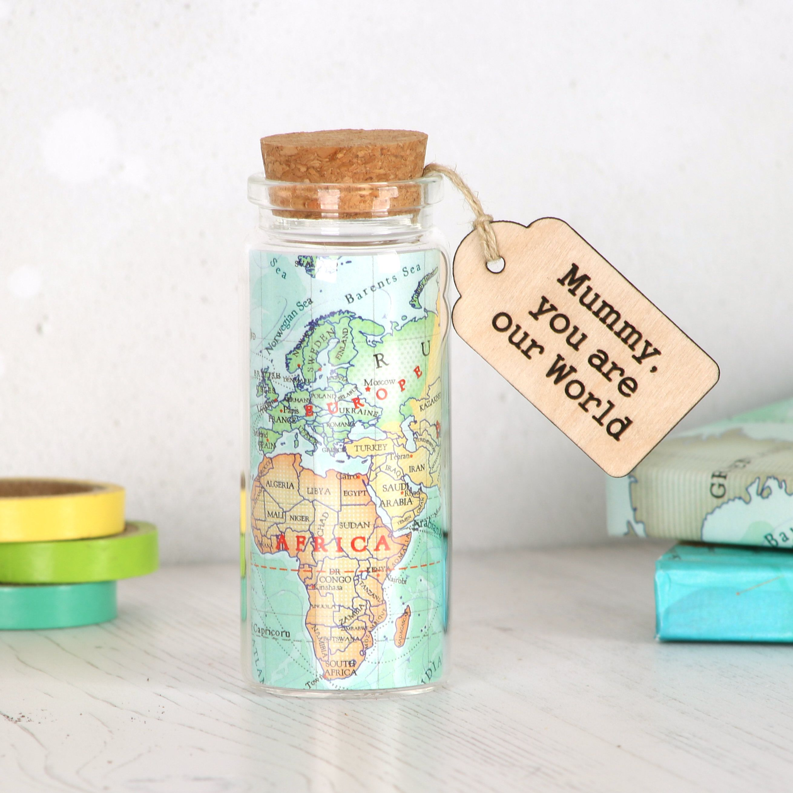 Custom map message bottle gift for him Valentine's day