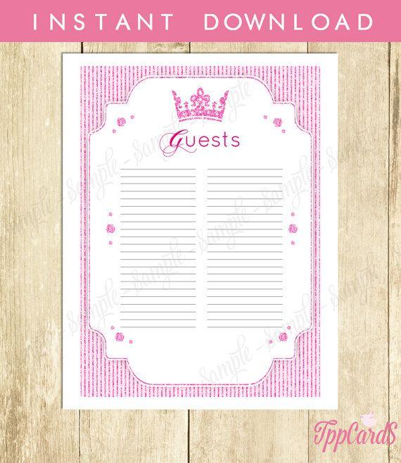 Instant Download Pink Princess Guest List Printable Glitter Pink