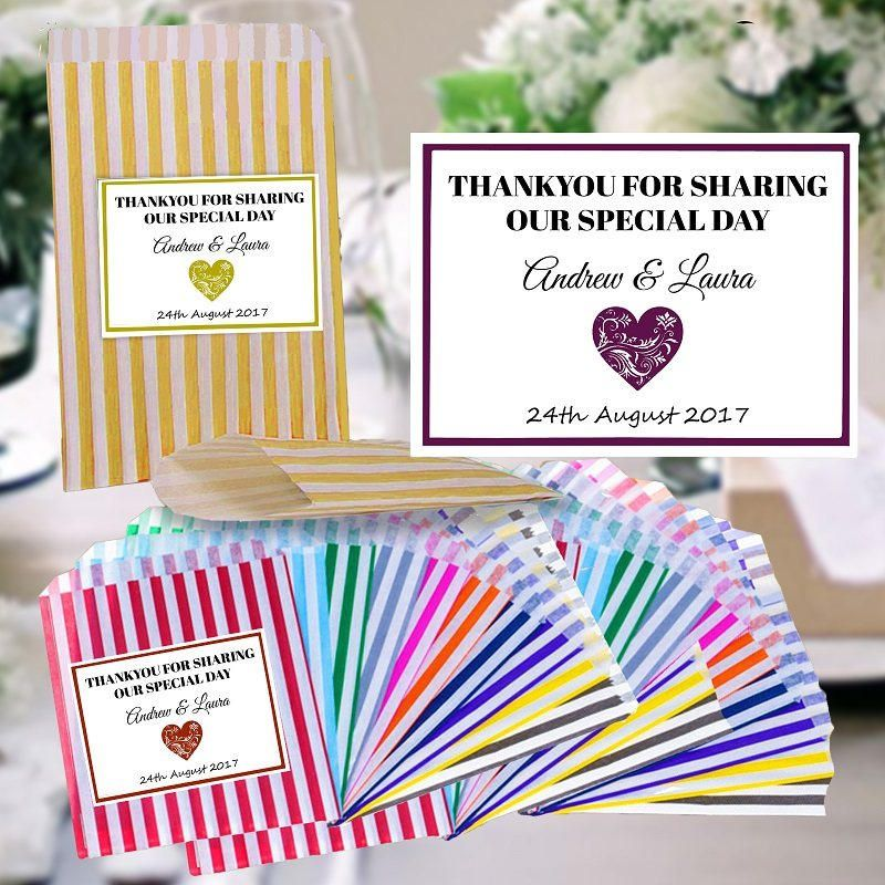 Personalised Wedding Favour Candy Stripe Sweet Bags Any Name Celebration Labels With Free Uk