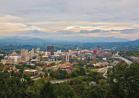 Asheville Nc Downtown View And The Surrounding Blue Ridge