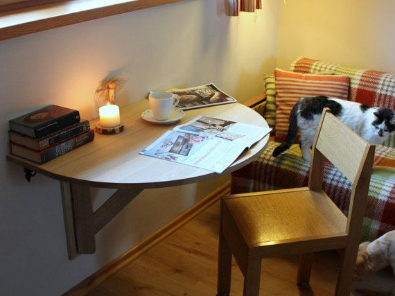 Wall Mounted Drop Leaf Table Fold Down Desk Small Kitchen Side Oak Wood Semi Circular E Saving Ideas