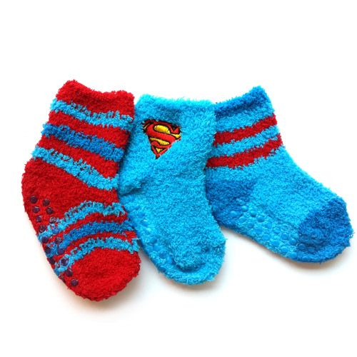 Superman Baby Toddler Boy Fuzzy Socks 3 Pack Baby Clothing