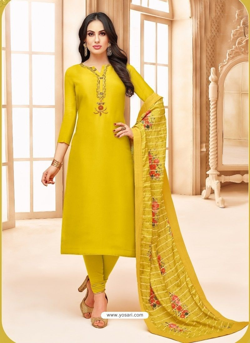 0ae5aabeb726 Yellow Upada Silk Digital Printed Churidar Suit in 2019 | Churidar ...