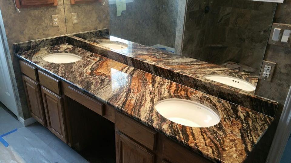 Blue Fire Granite Bathroom - Bathroom Dark Brown Vanity ... on Bathroom Ideas With Black Granite Countertops  id=81138
