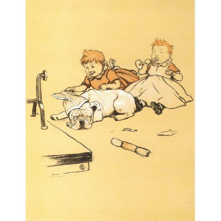 A Gay Dog 1905 Being played with Canvas Art - Cecil Aldin (18 x 24)