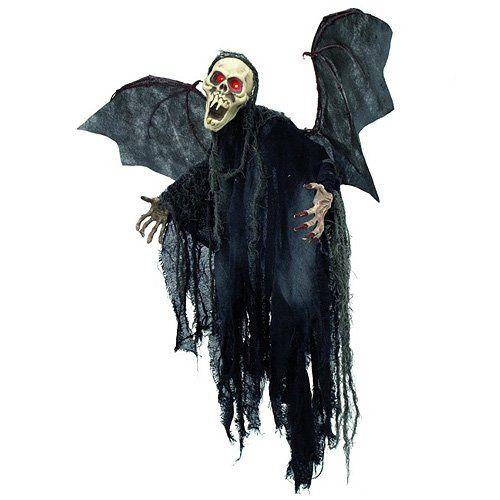 Europalms Halloween 83314586 Figur Bat Ghost - Hängefigur Skelett-Fledermaus ¨Hängefigur Geisterfledermaus  ¨Augen pulsieren rot ¨Material: Styropor, Hartkunststoff, Polyester ¨Betrieb über drei 1,5-V-Mignonbatterien, Typ LR44 (nicht im Lieferumfang enthalten) ¨Spannweite der Flügel 92 cm ¨Höhe 85 cm