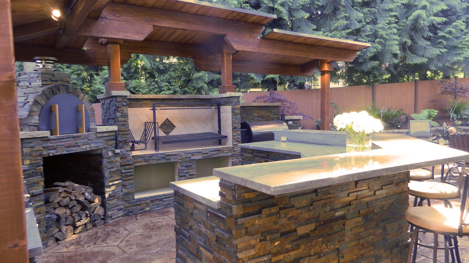Built in grill and smoker outside bar outdoor kitchen - Outdoor kitchen pizza oven design ...