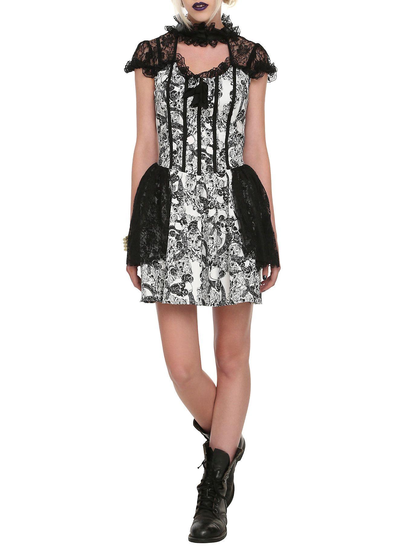 dd07446a8e6 Black   White Skull Lace Dress