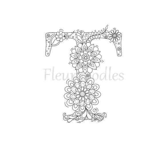 adult coloring page - floral letters, alphabet T, hand lettering ...