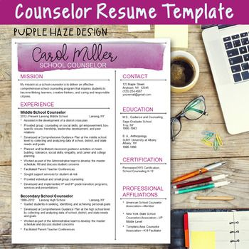 Counselor Resume Template--Purple Haze Design Perfect resume - sample school counselor resume