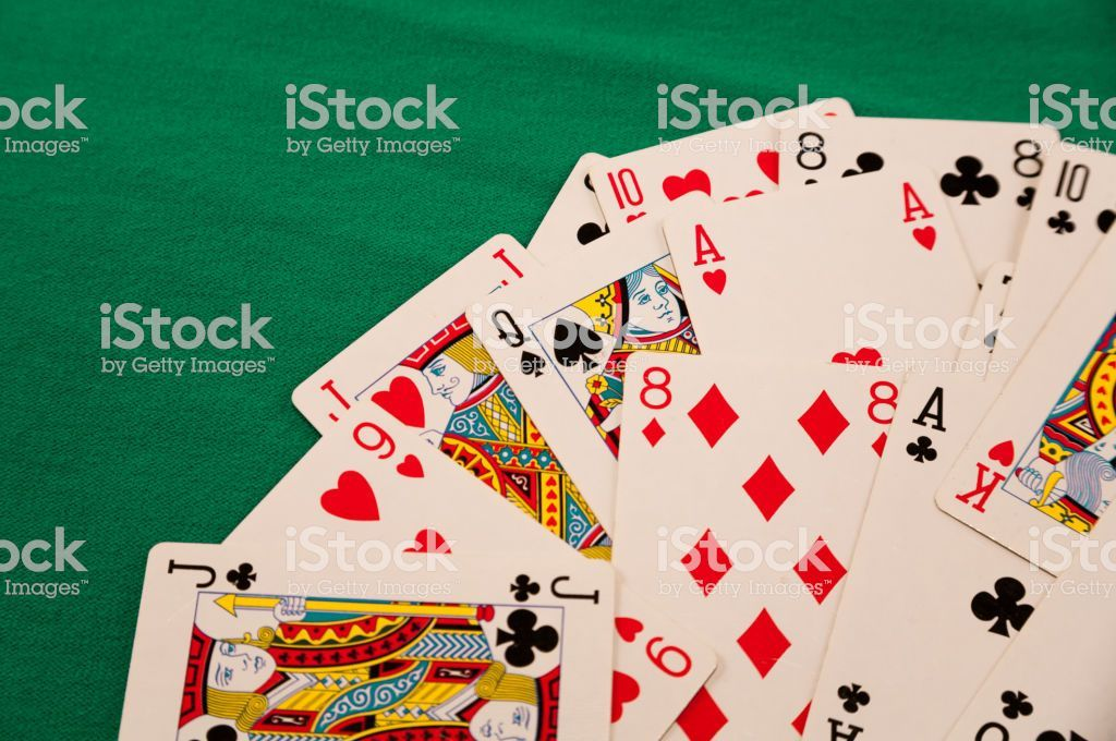 Deck Of Cards On Green Background Casino Luck Fortune Games