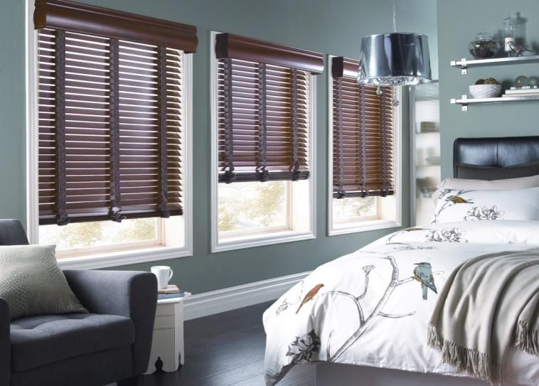Wood Blinds With Decorative Tape Transitional Bedroom Design