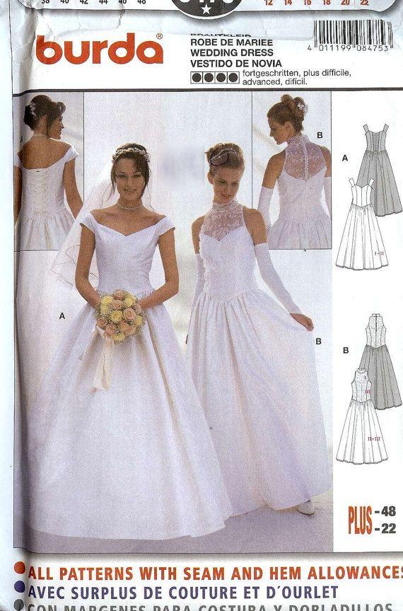 Burda 8475 | Wedding Gown Patterns | Wedding dress patterns, Gown ...