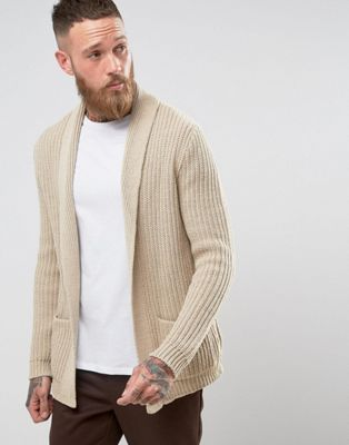 DESIGN knitted cardigan in oatmeal twist in 2019 | Mens