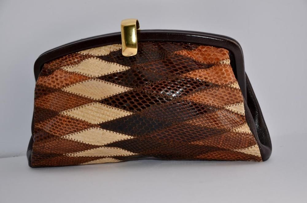Vintage Cream Brown Tan Real Snakeskin Leather Clutch Bag Handbag