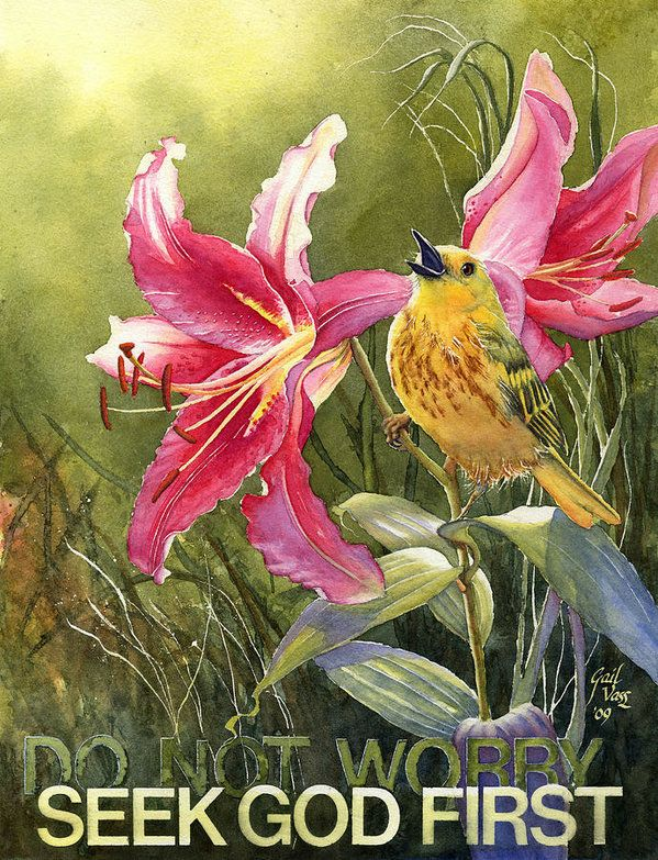 Yellow Warbler And Pink Lilies Poster by Gail Vass