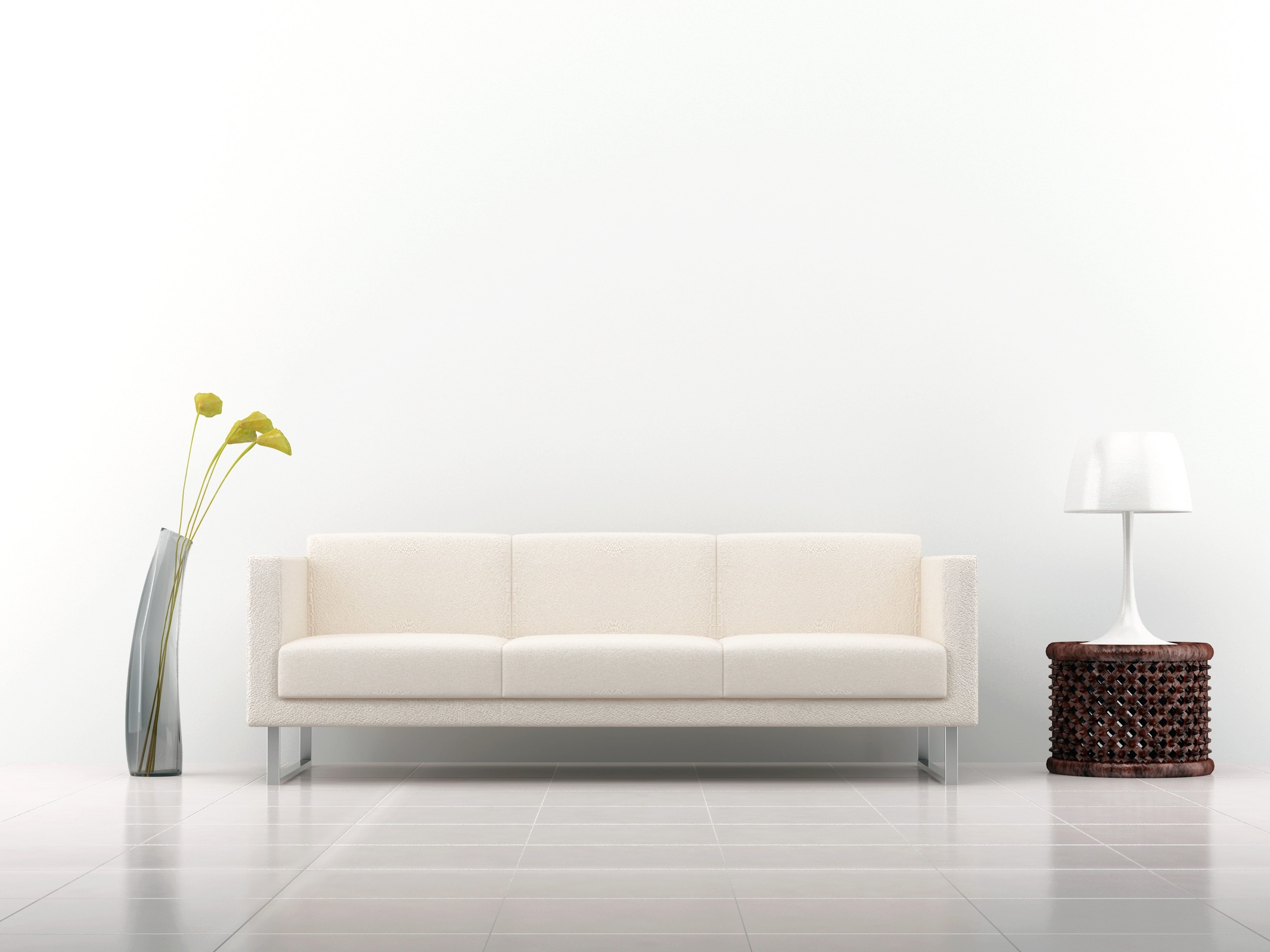 White 3 Seat Sofa Sofa Decoration Interior Vase Lamp White Background 5k Wallpaper Hdwallpap Living Room Wall Color Simple Living Room Room Wall Colors White living room background