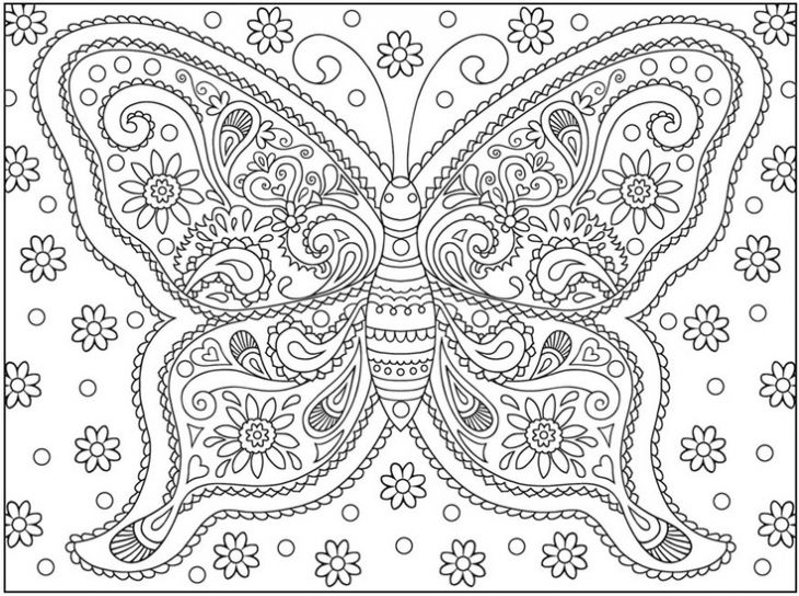 a very complicated butterfly doodle art coloring page for adults ...