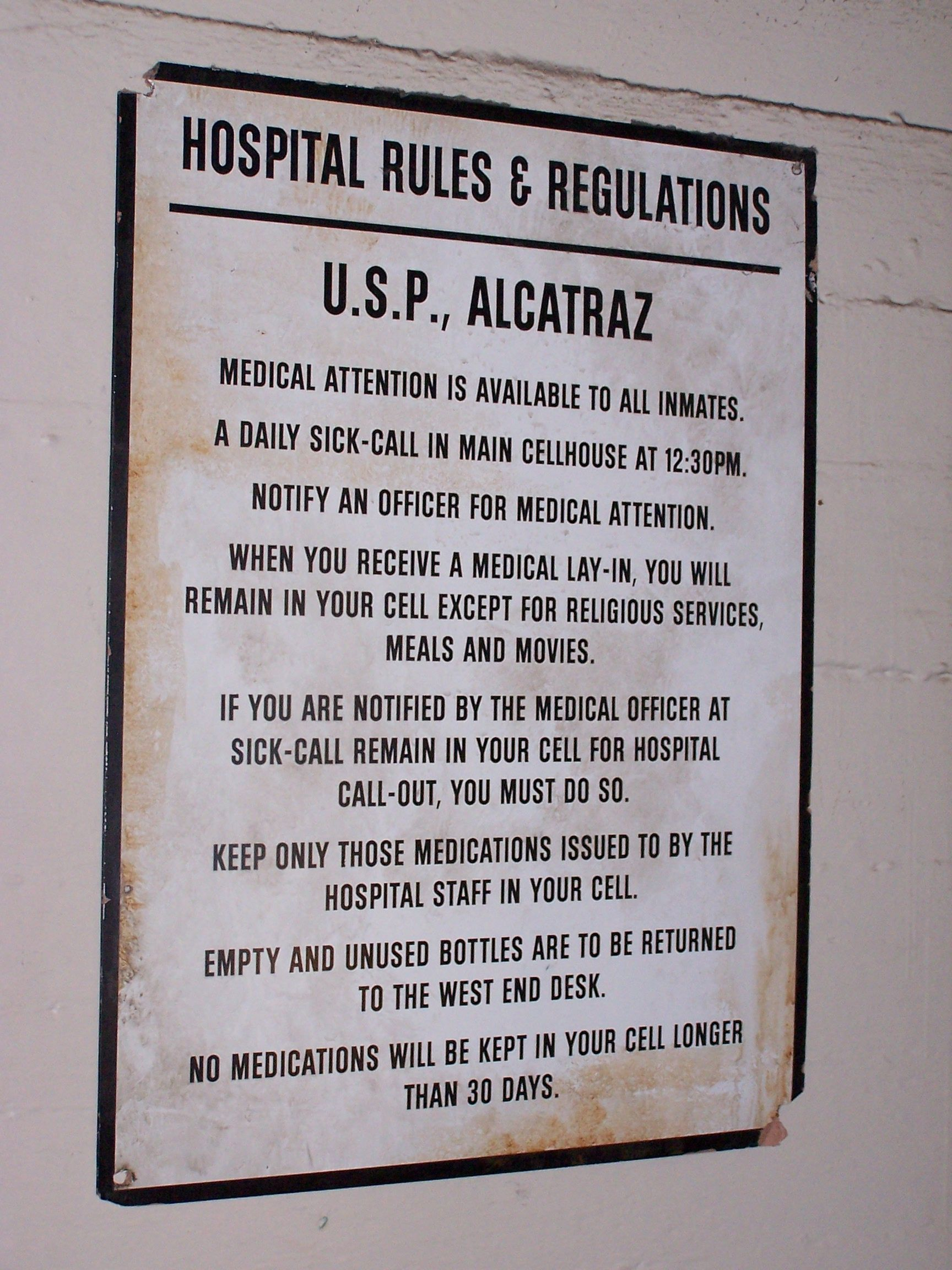 Hospital Rules Regulations Alcatraz Alcatraz Prison Alcatraz