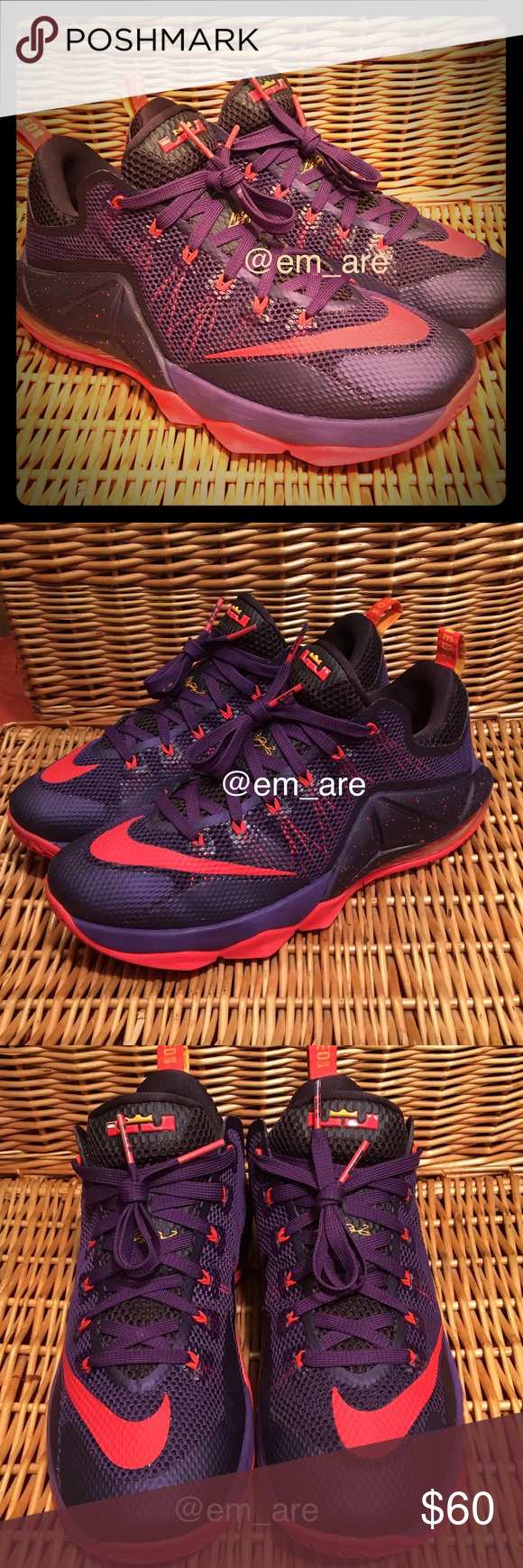 on sale dbbaa 8b238 Nike LeBron 12 low This low-top version is dressed in a Court Purple, Bright  Crimson, Cave Purple, and Laser Orange color scheme.