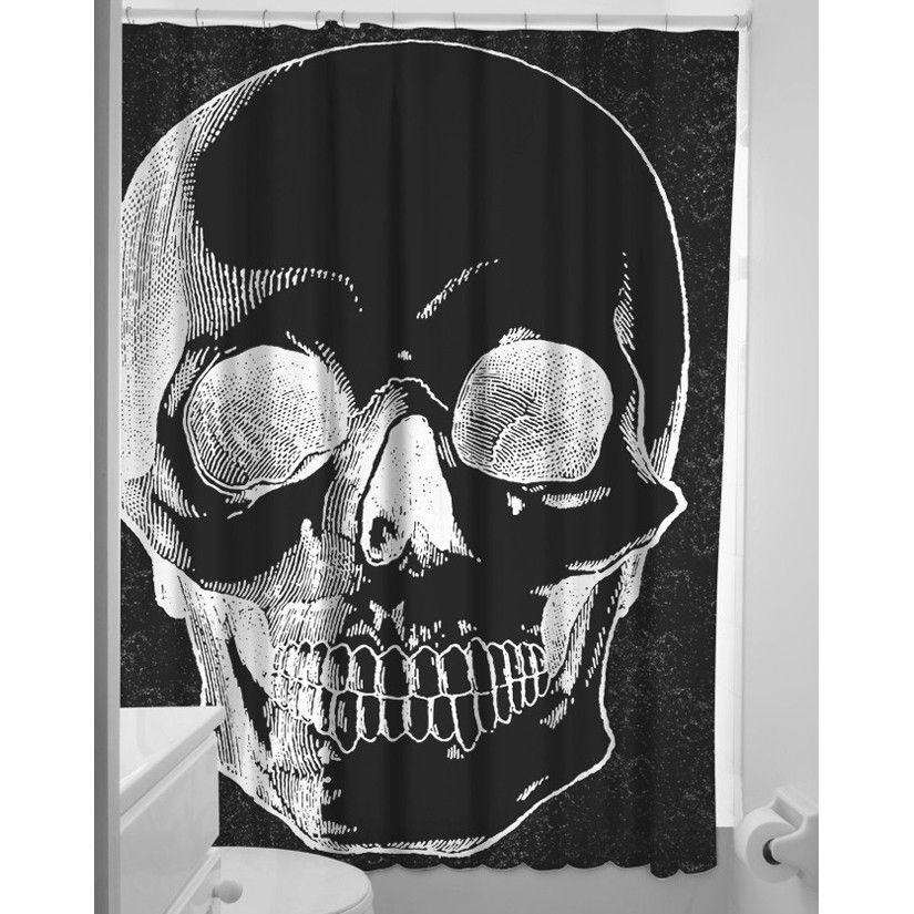 Sourpuss Tattoo Anatomical Skull Shower Curtain Rockabilly Pinup Punk Flash Art In Home Garden Bath Curtains