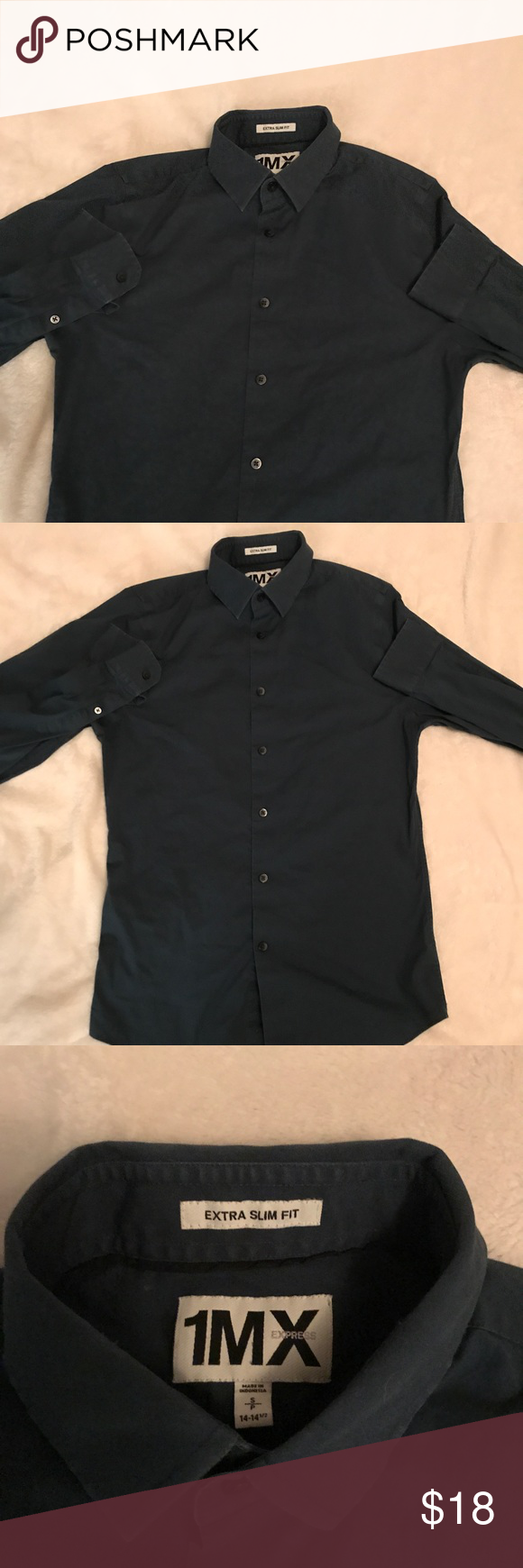 Dark green dress shirt  Dark Blue Express Shirt Slim Fit Express Dress Shirt Itus a dark