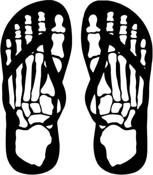 "Skeleton Feet Sandals Skull Decal Sticker Car Truck Window- 6"" Tall White Color"