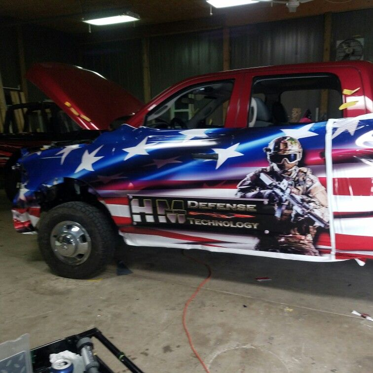 Pin auf American flag truck wrap..hm defense monobloc