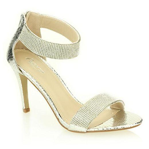 Frau Damen Abend Hochzeit Party Hoch Ferse Open Toe Diamant Braut Sandale Schuhe Größe (Gold, Schwarz, Champagne, Silber) - Sandalen für frauen (*Partner-Link)