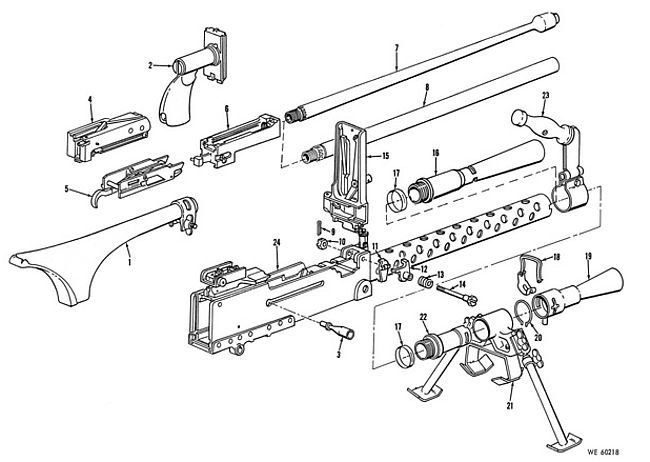 M1919 Exploded Technical Illustration Weapons Guns