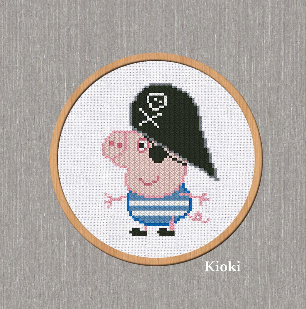 Cross stitch pattern for pig - symbol of 2019 1