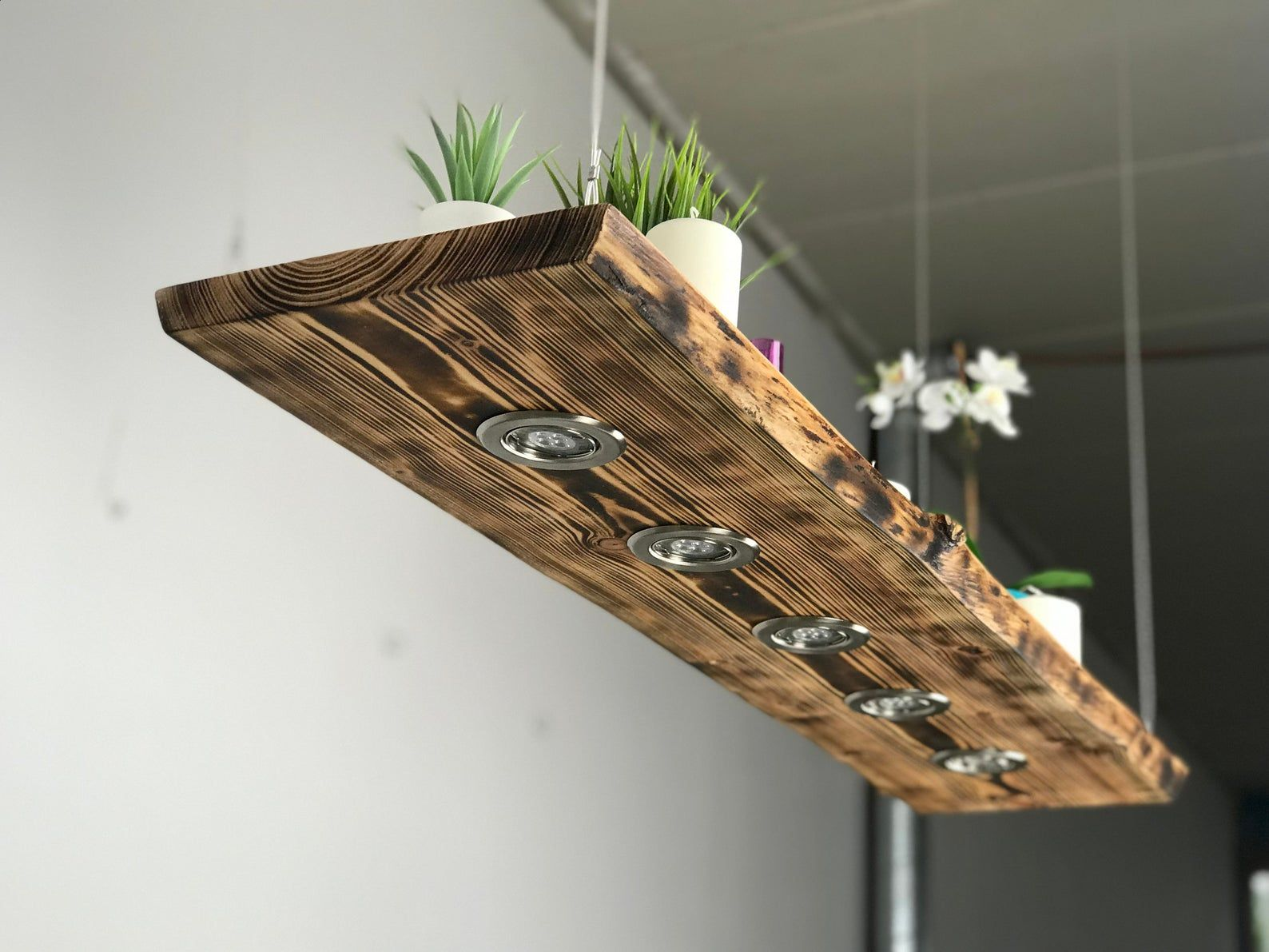 Lampen Aus Holz Blockwood Forge Ceiling Lamp Wood Flamed For The Kitchen - Living Room Vintage Hanging Lamp - Dining Room Pendant Lamp - Ceiling Lamp With Led | Holz Hängelampe, Holzlampe, Deckenlampe Holz