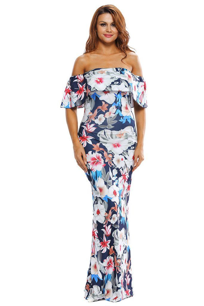 robe longue fleurie chic epaules denudees a volants maxi dresses ruffles and floral. Black Bedroom Furniture Sets. Home Design Ideas