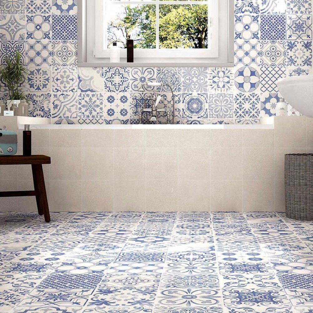 Tangier Blue Spanish Style Bathrooms Bathroom Floor