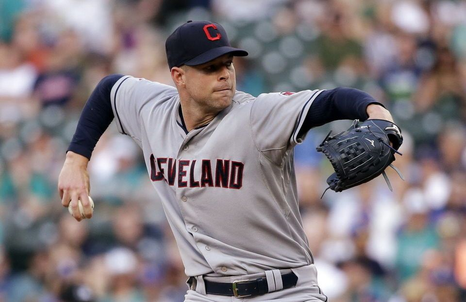 Corey Kluber throws against the Seattle Mariners