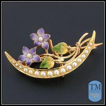 14k Gold & Enamel Honeymoon Pin by Krementz