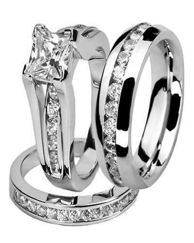 Trio Wedding Ring Sets Jared Pulsera De Diamantes Anillos Hermosos Anillos De Boda