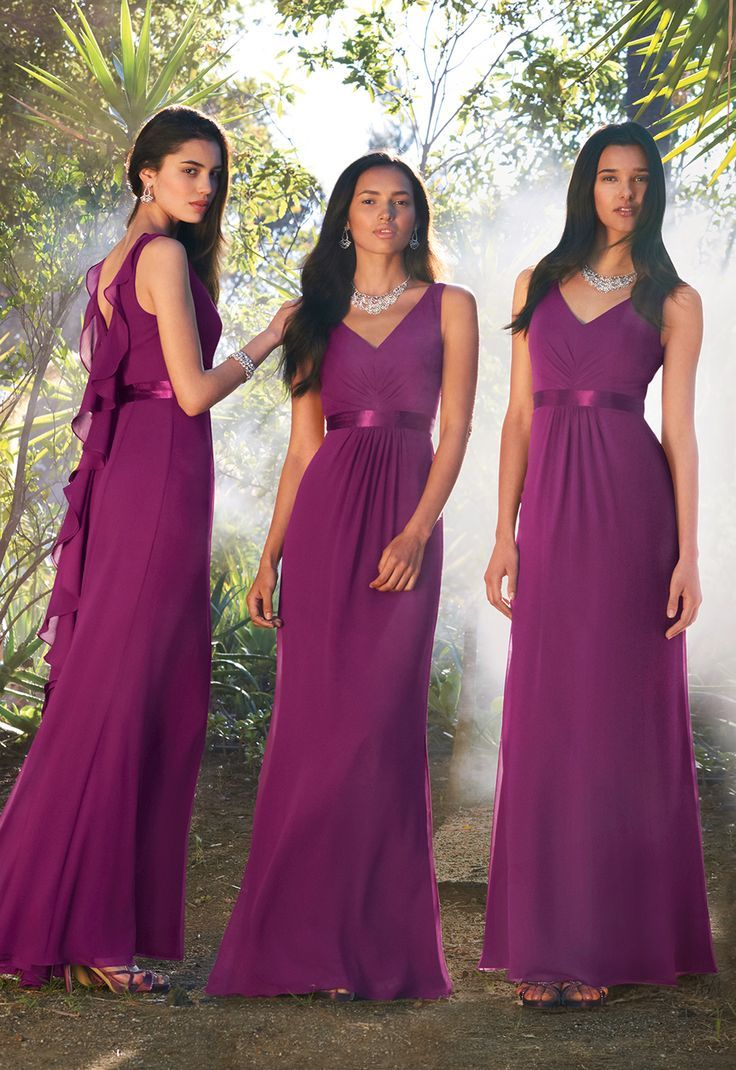 v-neck #long purple bridesmaid dresses #plum #purple #stain #sash ...