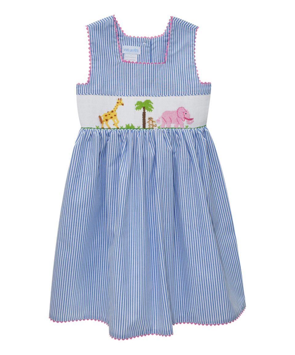 Vive La F 234 Te Blue Safari Smocked Dress Infant Toddler