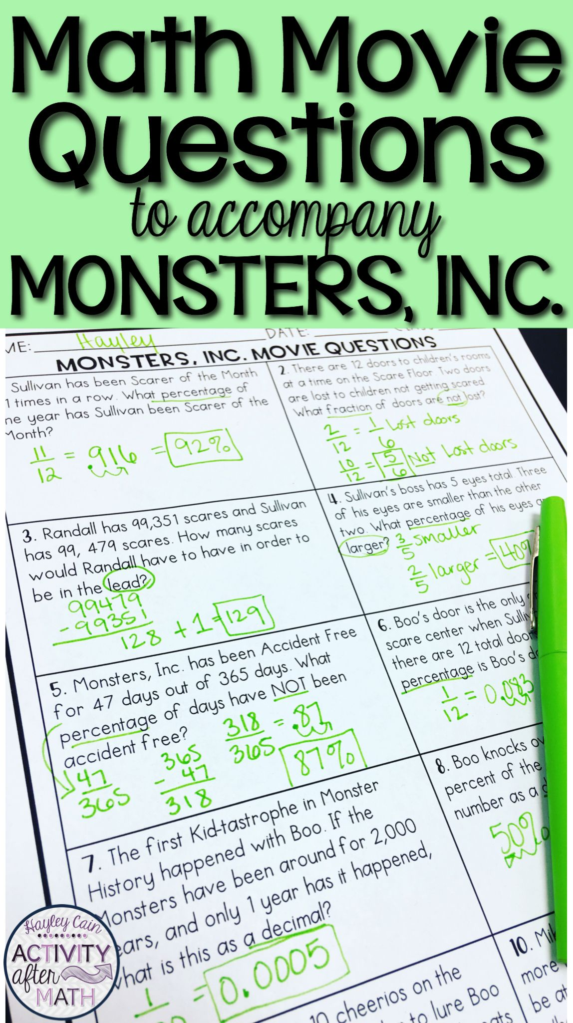 Math Movie Questions To Accompany The Movie Monsters Inc